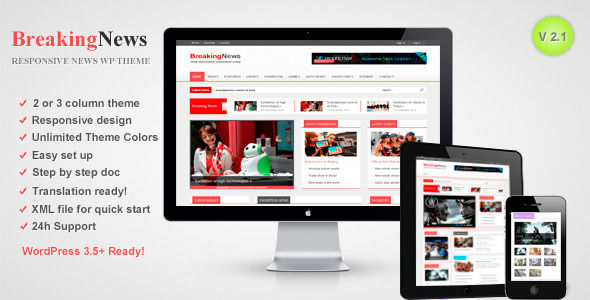 BreakingNews by RoyalwpThemes is a news magazine WordPress theme with video support which features support for RTL languages, one page layouts, fully responsive layouts, search engine optimization and magazine style layouts.