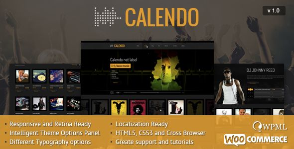 Calendo Responsive WordPress Theme by CRIK0VA is a WordPress music theme which features fully responsive layouts, search engine optimization, WooCommerce integration and magazine style layouts.