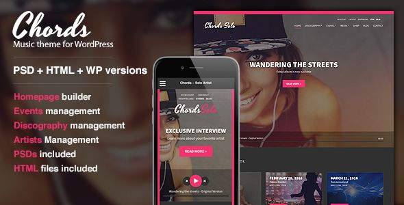 Chords by Cssignitervip is a WordPress music theme which features parallax elements, support for RTL languages, fully responsive layouts, search engine optimization, WooCommerce integration and masonry post layouts.