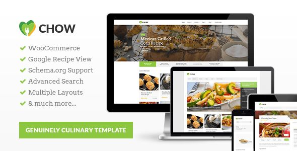 Chow by Purethemes is a recipe WordPress theme which features fully responsive layouts, search engine optimization, Revolution Slider, WooCommerce integration and a grid layout.