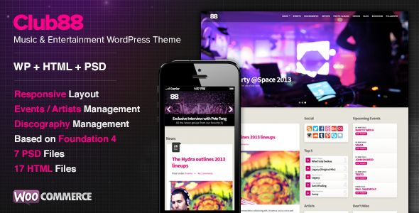 Club by Cssignitervip is a WordPress music theme which features Retina display support, support for RTL languages, fully responsive layouts, search engine optimization, WooCommerce integration, support for photo galleries, flat design aesthetics and a grid layout.