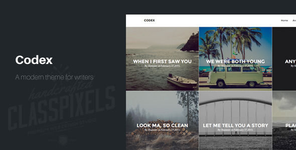 Codex Blogging Theme To Tell Stories by ClassPixels is a Ghost theme which features support for RTL languages, fully responsive layouts, Bootstrap framework utilization, support for photo galleries, blogging related layouts and optimizations, masonry post layouts and  minimal design.