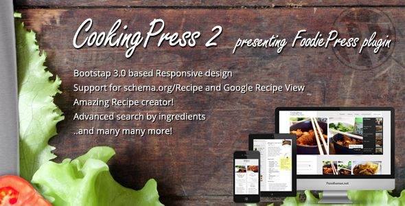 CookingPress by Purethemes is a recipe WordPress theme which features fully responsive layouts, search engine optimization, blogging related layouts and optimizations and a grid layout.