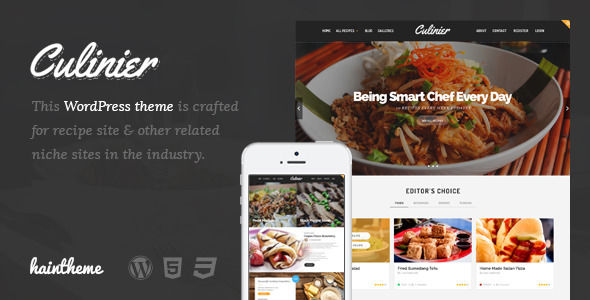 Culinier by Haintheme is a recipe WordPress theme which features Retina display support, Mega Menu, fully responsive layouts, Google Fonts support, Revolution Slider, Bootstrap framework utilization, masonry post layouts and a grid layout.