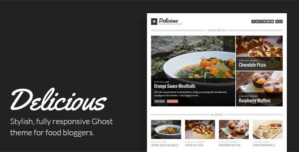 Delicious by Jorok is a Ghost theme which features Retina display support, support for RTL languages, fully responsive layouts, Google Fonts support, clean design, support for photo galleries, blogging related layouts and optimizations and  flat design aesthetics.