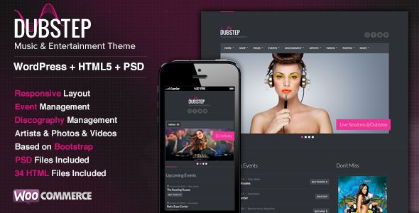Dubstep by Cssignitervip is a WordPress music theme which features Retina display support, support for RTL languages, fully responsive layouts, search engine optimization, WooCommerce integration and Bootstrap framework utilization.