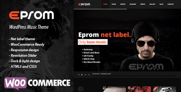 EPROM by Rascals is a WordPress music theme which features support for RTL languages, fully responsive layouts, search engine optimization, Google Fonts support, Revolution Slider, WooCommerce integration, clean design, can be used for your portfolio, masonry post layouts and a grid layout.