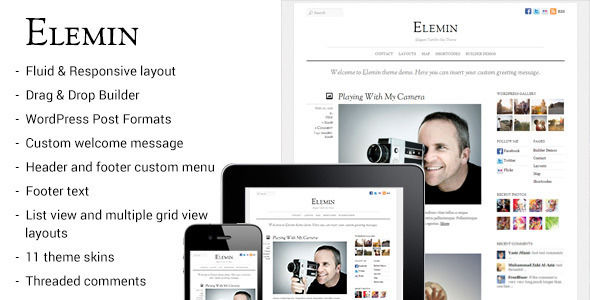 Elemin by Themify is a news magazine WordPress theme with video support which features parallax elements, fully responsive layouts, search engine optimization, Google Fonts support, can be used for your portfolio, magazine style layouts, corporate style visuals, a grid layout and minimal design.