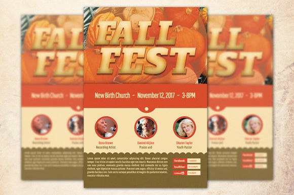 Fall Fest Church Flyer Template by Loswl is available from CreativeMarket for $6.