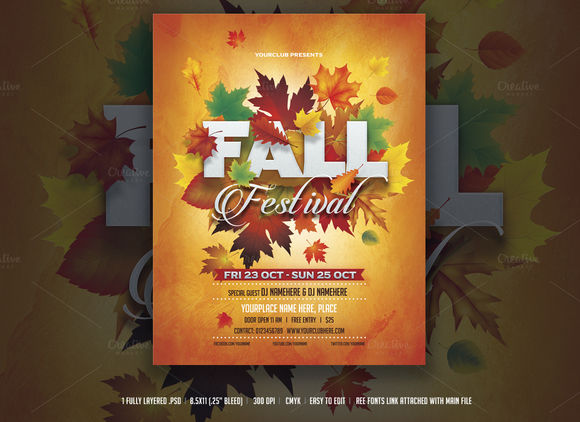 Fall Festival Flyer by DesignWorkz is available from CreativeMarket for $6.