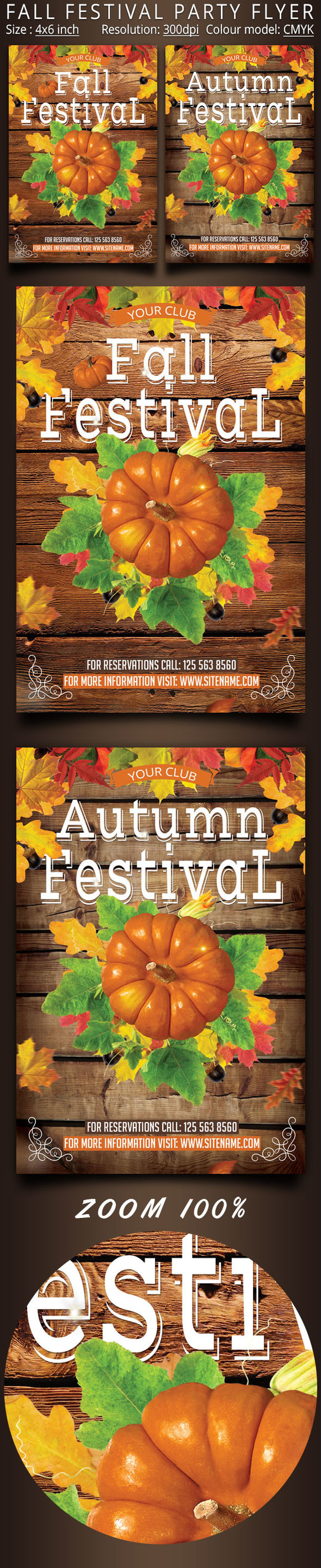 Fall Festival Party Flyer by Oloreon is available from CreativeMarket for $6.