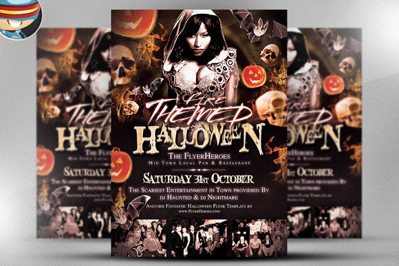Fire Themed Halloween Flyer Template by FlyerHeroes is available from CreativeMarket for $9.