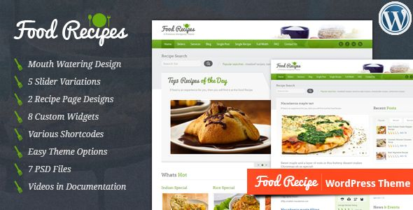 Food Recipes by InspiryThemes is a recipe WordPress theme which features one page layouts, fully responsive layouts, search engine optimization and Google Fonts support.