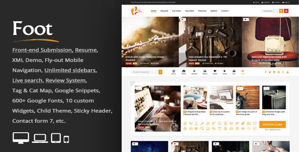 Foot by An-Themes is a niche WordPress theme with frontend submission functionality which features fully responsive layouts, search engine optimization, Google Fonts support, support for photo galleries, magazine style layouts, is great for your personal site, masonry post layouts and a grid layout.