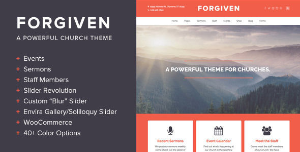 Forgiven by BoxyStudio is a news magazine WordPress theme with video support which features fully responsive layouts, Revolution Slider and WooCommerce integration.