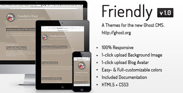 Friendly Responsive Theme For The New Ghost CMS by Ahmettopal is a Ghost theme which features one page layouts, fully responsive layouts, can be used for your portfolio, is great for your personal site, blogging related layouts and optimizations and  minimal design.