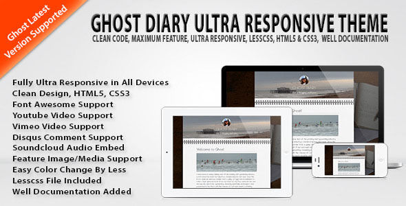 Ghost Diary Ultra Responsive Theme by Freelancingcare is a Ghost theme which features fully responsive layouts, Google Fonts support, clean design, is great for your personal site, corporate style visuals, flat design aesthetics and  minimal design.