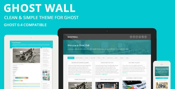 GhostWall by Sunflowertheme is a Ghost theme which features support for RTL languages, fully responsive layouts, Google Fonts support, clean design and  Bootstrap framework utilization.