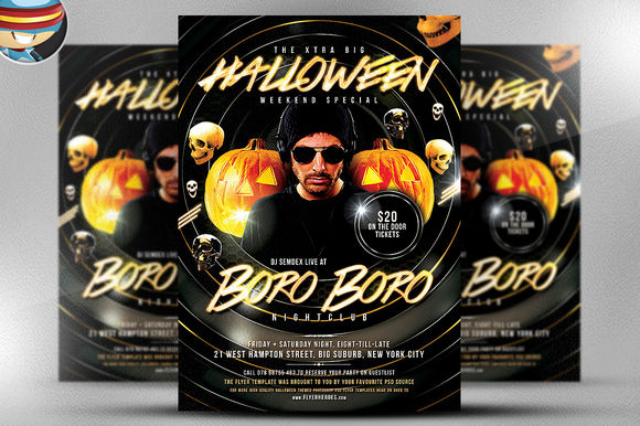 Halloween BoroBoro Flyer Template by FlyerHeroes is available from CreativeMarket for $9.