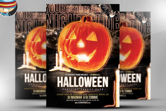 Halloween Club Flyer Template by FlyerHeroes is available from CreativeMarket for $9.