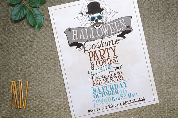 Halloween Costume Party Flyer by ErinManuel is available from CreativeMarket for $6.