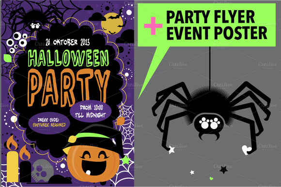 Halloween Party Flyer by Darish is available from CreativeMarket for $5.