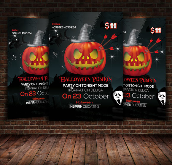 Halloween Pumpkin Flyer Template by Leza is available from CreativeMarket for $10.