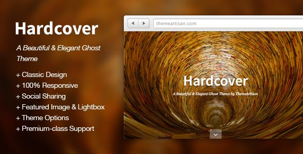 Hardcover by ThemeArtisan is a Ghost theme which features support for RTL languages, fully responsive layouts and  blogging related layouts and optimizations.