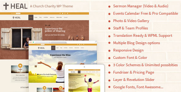 Heal Church And Charity WordPress Theme by Designthemes is a news magazine WordPress theme with video support which features parallax elements, support for RTL languages, fully responsive layouts, search engine optimization, Google Fonts support, Revolution Slider, clean design, can be used for your portfolio and minimal design.