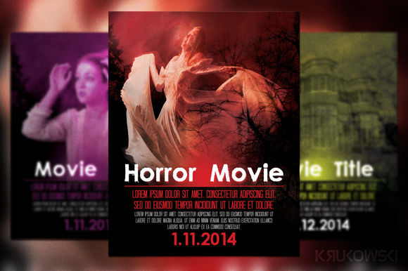 Horror Movie Poster by Krukowski is available from CreativeMarket for $6.