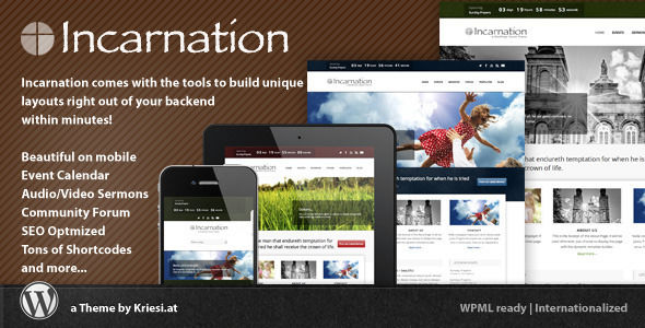 Incarnation by Kriesi is a news magazine WordPress theme with video support which features fully responsive layouts, search engine optimization and can be used for your portfolio.
