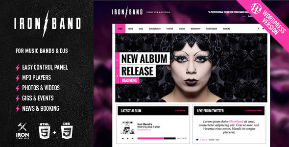 IronBand by IronTemplates is a WordPress theme for bands which features Retina display support, support for RTL languages, one page layouts, fully responsive layouts, search engine optimization, Google Fonts support, Revolution Slider, WooCommerce integration, clean design, Bootstrap framework utilization, is great for your personal site and a grid layout.