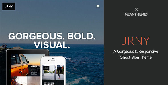 JRNY by Meanthemes is a Ghost theme which features fully responsive layouts, clean design, support for photo galleries, bold design elements and  minimal design.