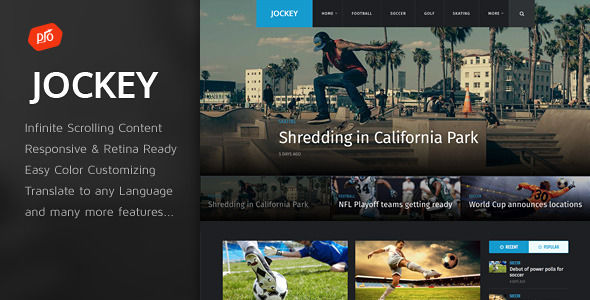 Jockey by ProgressionStudios is a news magazine WordPress theme with video support which features Retina display support, fully responsive layouts, support for photo galleries and magazine style layouts.