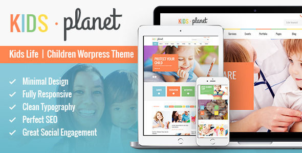 Kids Planet by AncoraThemes is a kids store WordPress theme which features Retina display support, support for RTL languages, fully responsive layouts, Google Fonts support, Revolution Slider, WooCommerce integration, clean design, Colorful and a grid layout.
