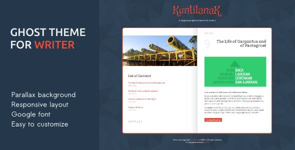 Kuntilanak by Harrysaputra is a Ghost theme which features parallax elements, fully responsive layouts, Google Fonts support, Bootstrap framework utilization, flat design aesthetics and  minimal design.