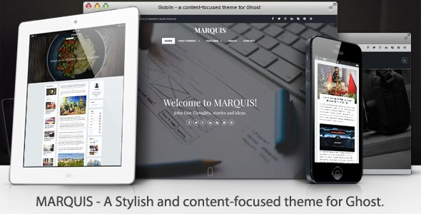 MARQUIS by Sunflowertheme is a Ghost theme which features parallax elements, support for RTL languages, fully responsive layouts, Google Fonts support, clean design, Bootstrap framework utilization, can be used for your portfolio, is great for your personal site, masonry post layouts and  a grid layout.