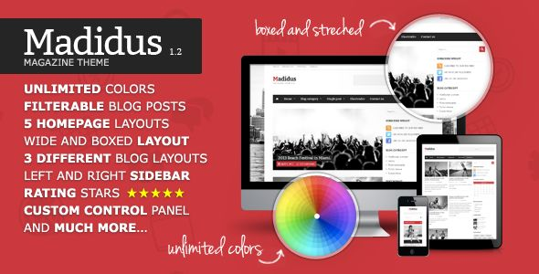 Madidus by Different-themes is a news magazine WordPress theme with video support which features Retina display support, fully responsive layouts, Google Fonts support, magazine style layouts, is great for your personal site and a grid layout.