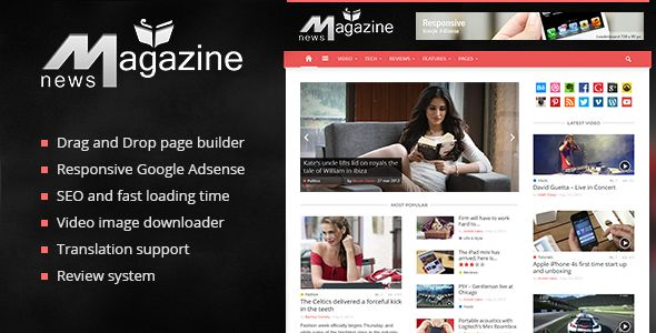Magazin by TagDiv is a news magazine WordPress theme with video support which features support for RTL languages, fully responsive layouts, search engine optimization, Revolution Slider, WooCommerce integration, clean design, Bootstrap framework utilization and magazine style layouts.
