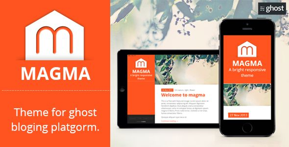 Magma by GBJsolution is a Ghost theme which features fully responsive layouts, Google Fonts support, clean design, is great for your personal site, blogging related layouts and optimizations, flat design aesthetics, masonry post layouts and  minimal design.