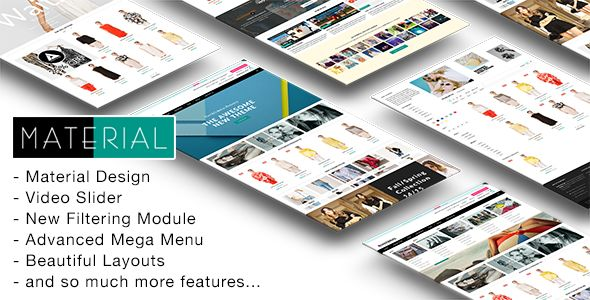 Material by Roartheme is a Shopify theme which features support for RTL languages, Mega Menu, fully responsive layouts, search engine optimization, Bootstrap framework utilization, a grid layout and  minimal design.