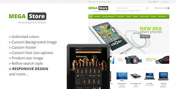 MegaStore Responsive OpenCart Theme by Tiquet is a ecommerce theme for gaming stores which features support for RTL languages, fully responsive layouts, Google Fonts support and a grid layout.