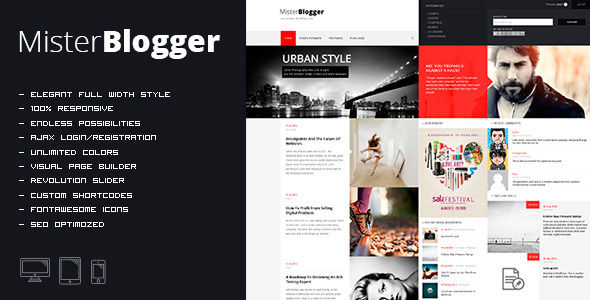 MisterBlogger by OrangeIdea is a news magazine WordPress theme with video support which features Retina display support, fully responsive layouts, search engine optimization, Revolution Slider, clean design, Bootstrap framework utilization, magazine style layouts, is great for your personal site and minimal design.
