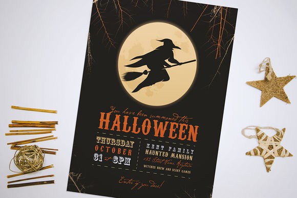 Moon Witch Halloween Party Flyer by ErinManuel is available from CreativeMarket for $4.