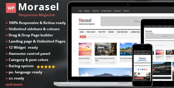 Morasel by 2codeThemes is a news magazine WordPress theme with video support which features support for RTL languages, fully responsive layouts, search engine optimization, Revolution Slider, clean design, Bootstrap framework utilization and magazine style layouts.