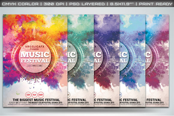 Music Festival Flyer Template by Angelicafx is available from CreativeMarket for $6.