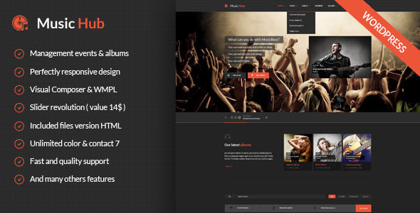 MusicHub by ElephantThemes is a WordPress theme for bands which features fully responsive layouts, WooCommerce integration, Bootstrap framework utilization and magazine style layouts.