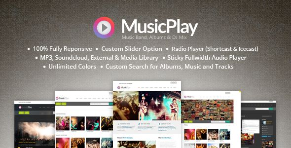 MusicPlay by AivahThemes is a WordPress theme for DJs which features support for RTL languages, one page layouts, fully responsive layouts, search engine optimization and Google Fonts support.