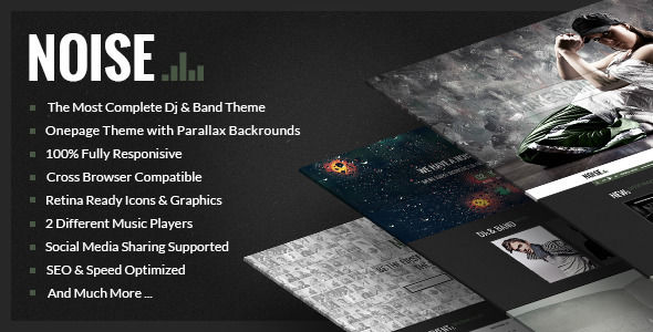 NOISE by Fitwp is a WordPress theme for bands which features Retina display support, parallax elements, one page layouts, fully responsive layouts, search engine optimization, Google Fonts support, Revolution Slider, WooCommerce integration, clean design, Bootstrap framework utilization, corporate style visuals and a grid layout.