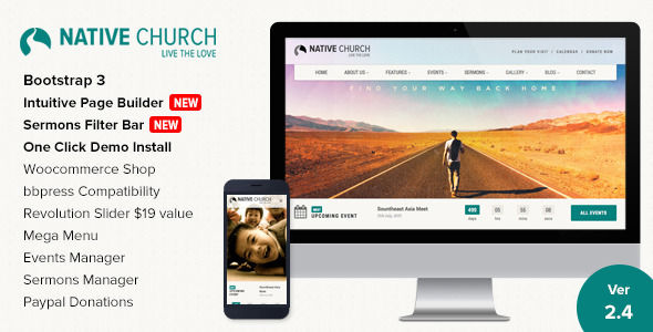 NativeChurch by Imithemes is a news magazine WordPress theme with video support which features Retina display support, support for RTL languages, Mega Menu, one page layouts, fully responsive layouts, search engine optimization, Google Fonts support, Revolution Slider, WooCommerce integration, Bootstrap framework utilization, can be used for your portfolio, corporate style visuals, flat design aesthetics, masonry post layouts and a grid layout.